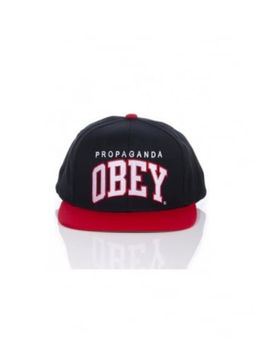 Obey Clothing Throwback Snapback Cap - Black/Red