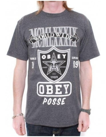 Obey Clothing Super Brawl Tee - Heather Charcoal