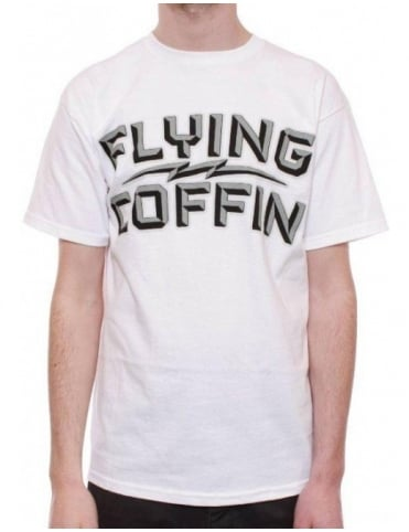 Flying Coffin Block Logo - White