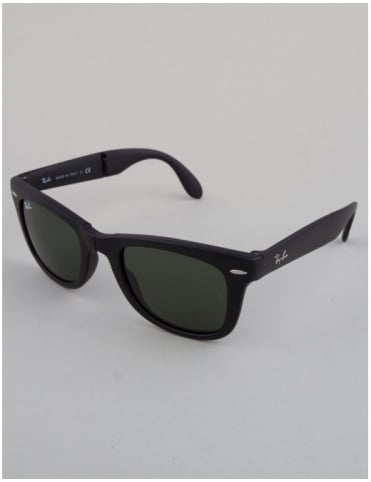 Ray-Ban Folding Wayfarer Sunglasses - Matte Black // Crystal Green
