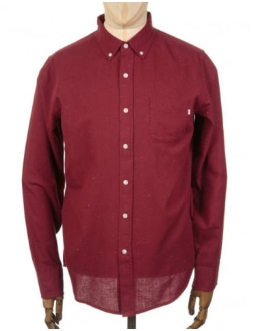 Obey Clothing L/S Norton Woven Shirt - Burgundy