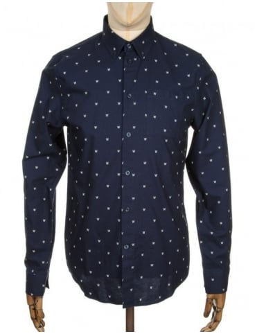 Wood Wood L/S Timothy Logo Shirt - AA Navy