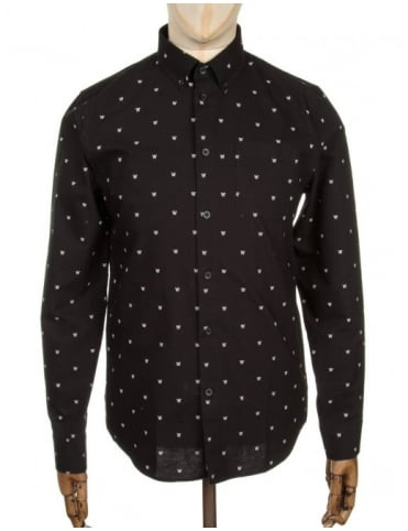 Wood Wood L/S Timothy Logo Shirt - AA Black