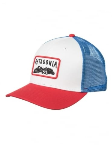 Patagonia Climb A Mountain Trucker Hat - White/Totally Red
