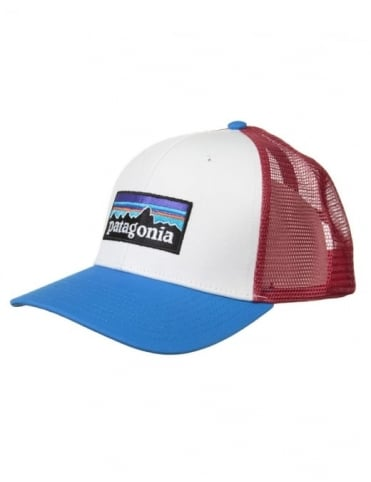 Patagonia P-6 Logo Trucker Hat - White/Andes Blue