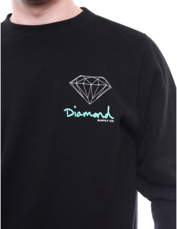 diamond supply co og logo crew black sweats from
