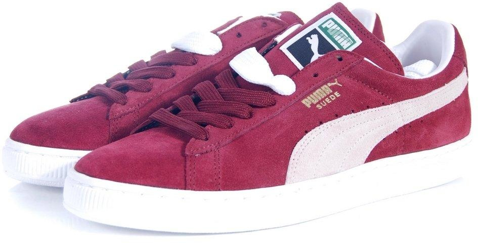 pink and white puma suede