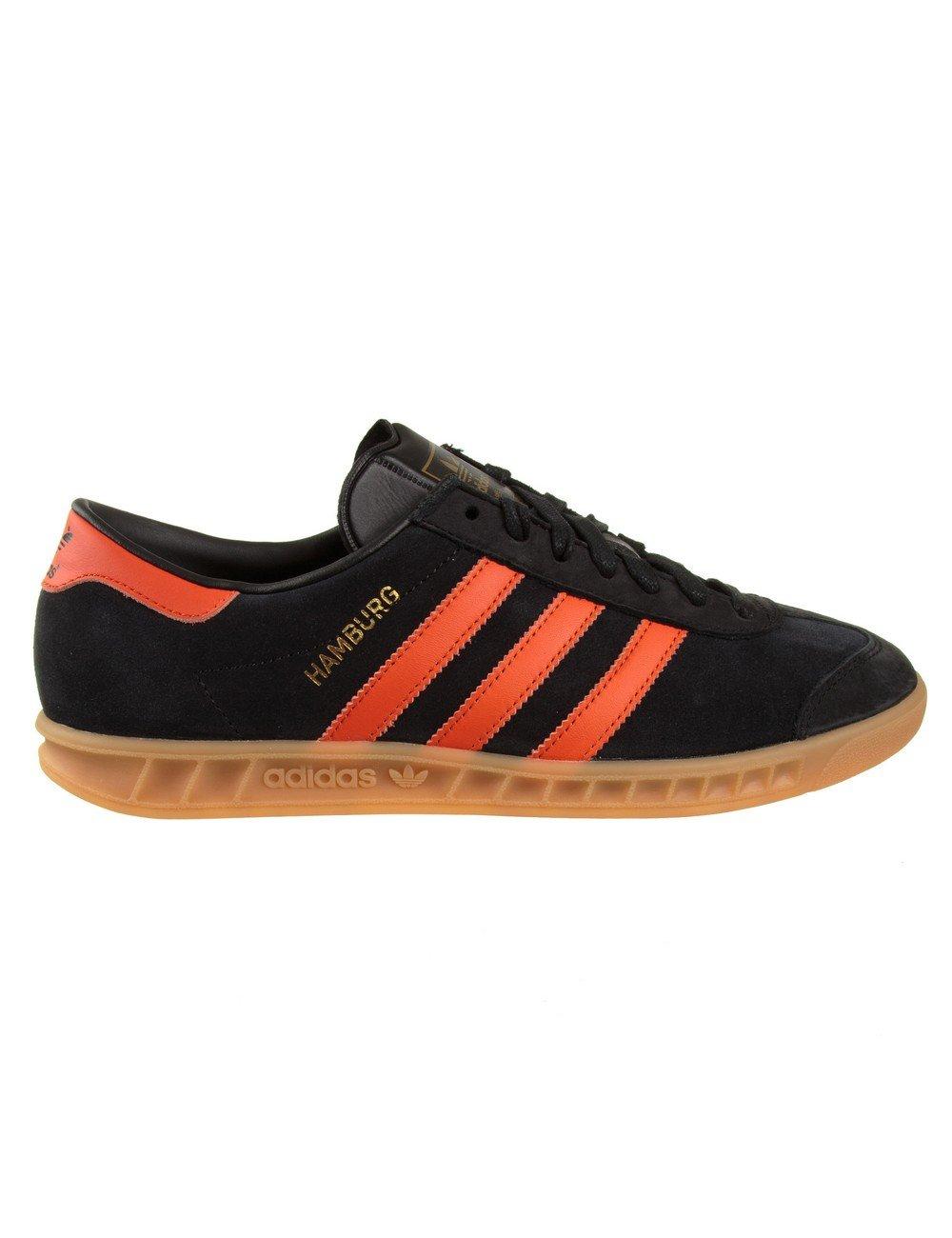 adidas originals hamburg shoes black orange trainers