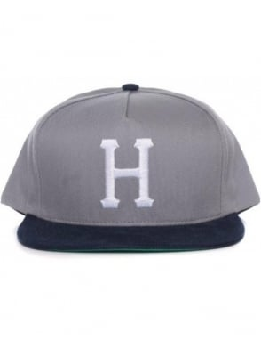 Huf Big H Snapback Hat - Grey/Navy