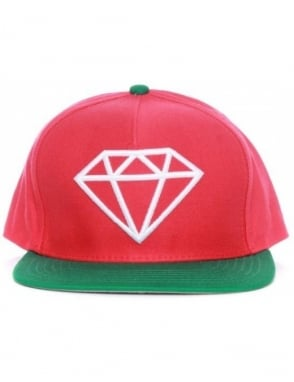 Diamond Supply Co Rock Snapback Hat - Red/Green