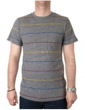 Only NY Clothing Primary Stripes Pocket Tee - Heather Grey