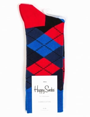 Happy Socks Argyle Pattern Socks - Blue/Red/Black